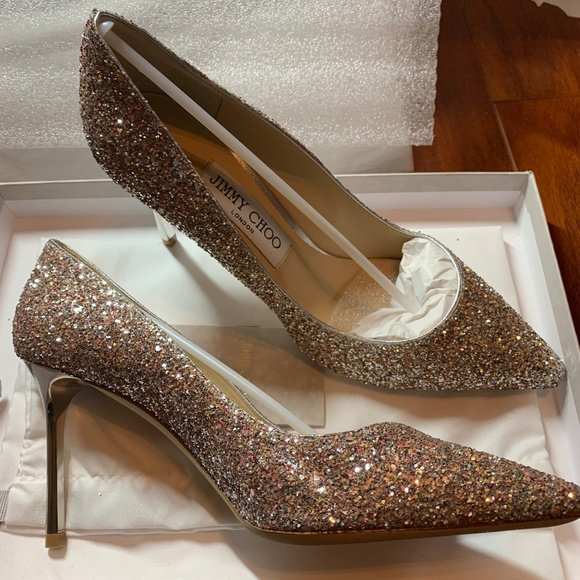 7e8ee99d51d JIMMY CHOO Violet Romy 100 Glitter Leather pumps